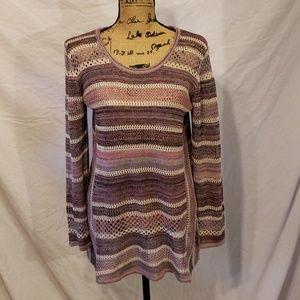 Style & Co Women's Sweater Pink Stripe Medium